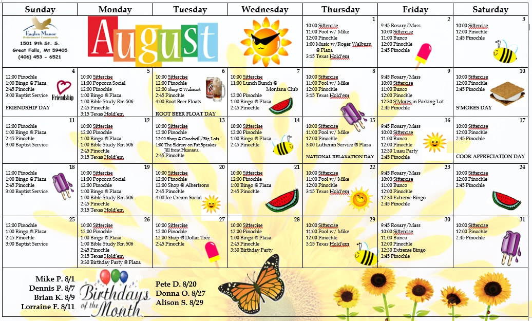 Eagles Manor Activity Calendar
