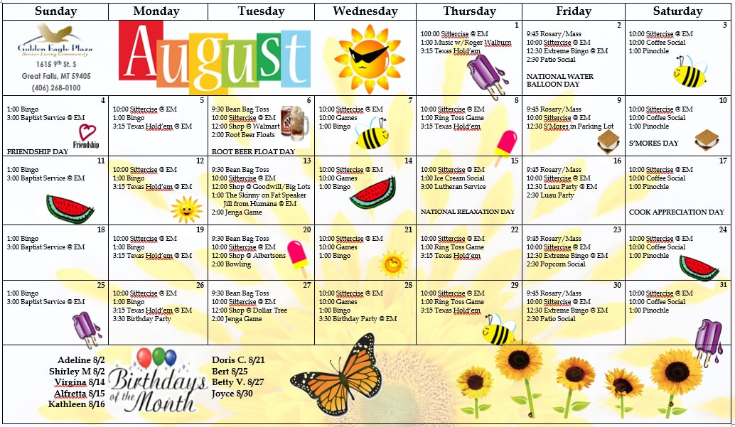 Golden Eagle Plaza Activity Calendar